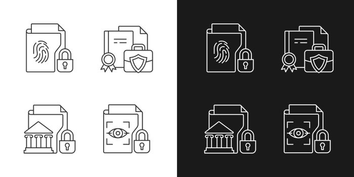 Personal sensitive data linear icons set for dark and light mode