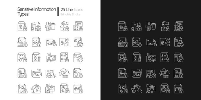 Sensitive information types linear icons set for dark and light mode