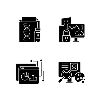 Sensitive data types black glyph icons set on white space