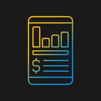 Expense tracker app gradient vector icon for dark theme