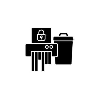 Sensitive information disposal black glyph icon
