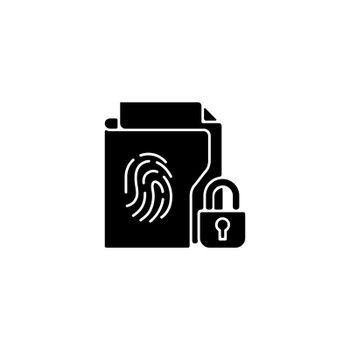 Sensitive information protection black glyph icon