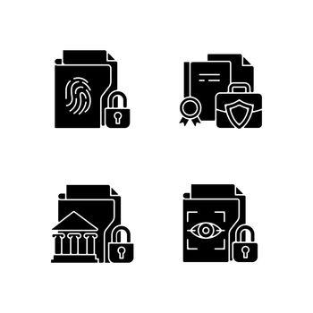 Personal sensitive data black glyph icons set on white space