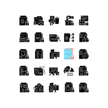 Sensitive information types black glyph icons set on white space