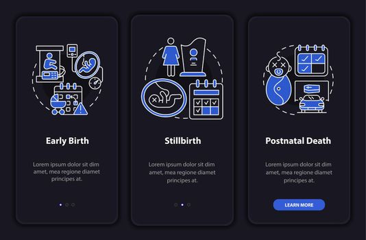 Maternity leave cases dark onboarding mobileapp page screen