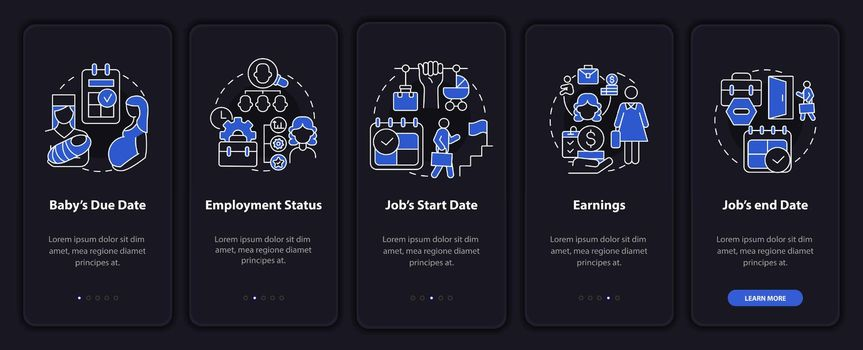 Calculating maternity pay dark onboarding mobileapp page screen