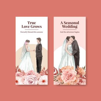 Flyer template with wedding autumn concept,watercolor style