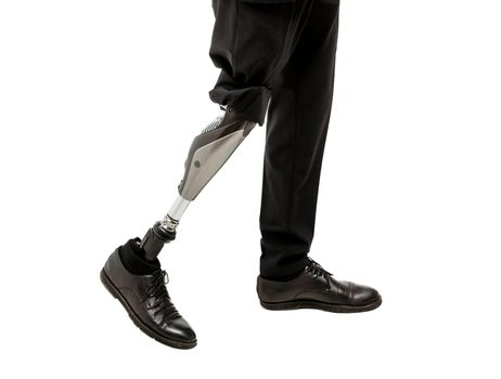 Cropped view of Disabled man with prosthetic leg, isolated on white background