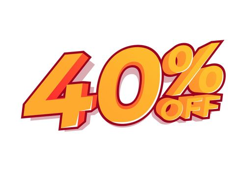 40% off sale tag. Sale of special offers. Discount with the price is 40%.