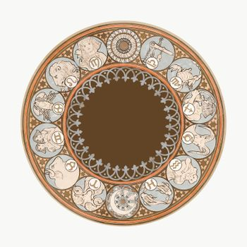 Art nouveau zodiac signs vector, remixed from the artworks of Alphonse Maria Mucha