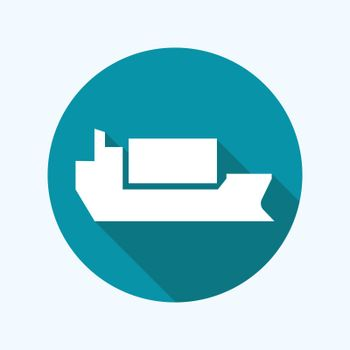 Cargo shipping with containers flat icon with long shadow.