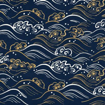 Blue wave pattern background vector, featuring public domain artworks