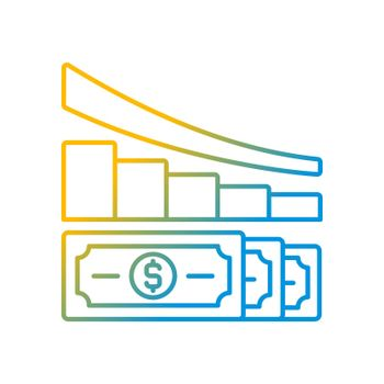 Expense reduction gradient linear vector icon