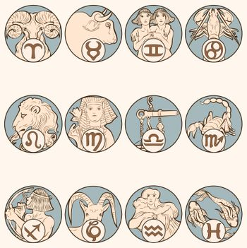Art nouveau 12 zodiac signs vector, remixed from the artworks of Alphonse Maria Mucha