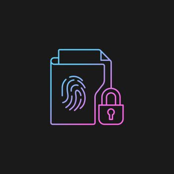 Sensitive information protection gradient vector icon for dark theme