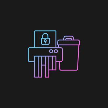 Sensitive information disposal gradient vector icon for dark theme