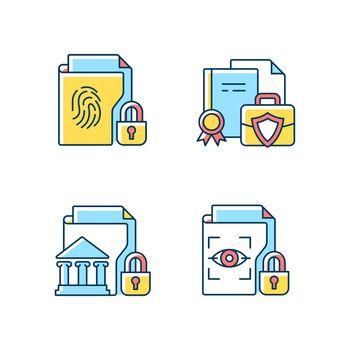 Personal sensitive data RGB color icons set