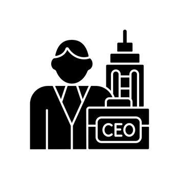 Chief executive black glyph icon