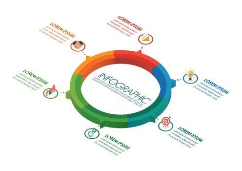 Circle infographic isometric design