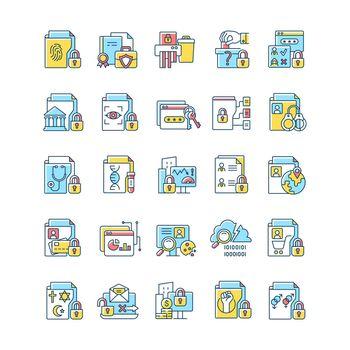 Sensitive information types RGB color icons set