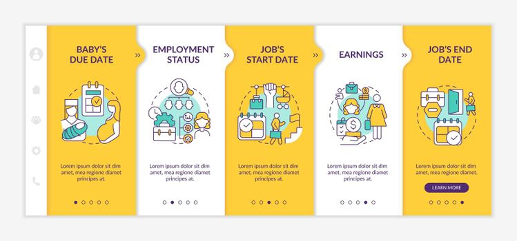 Calculating maternity pay requirements onboarding vector template