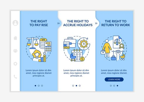 Maternity leave rights onboarding vector template