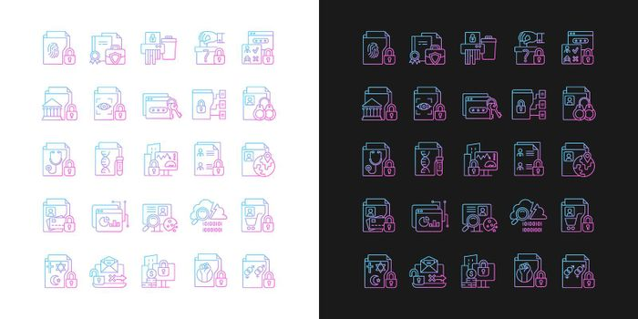 Sensitive information types gradient icons set for dark and light mode