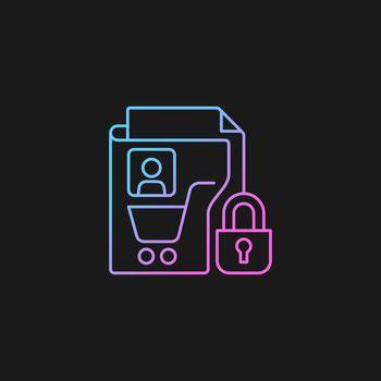 Consumer data privacy gradient vector icon for dark theme