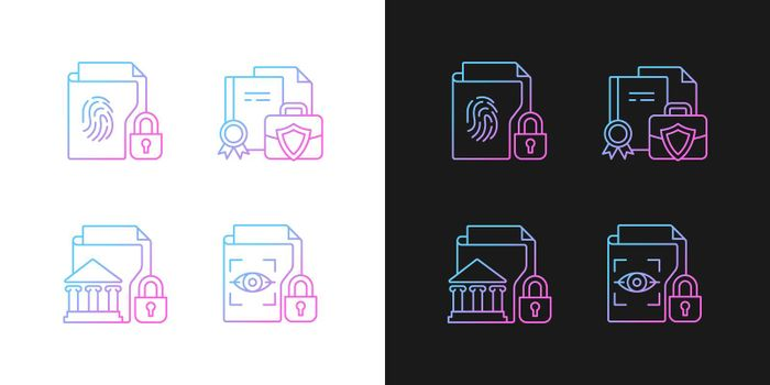 Personal sensitive data gradient icons set for dark and light mode
