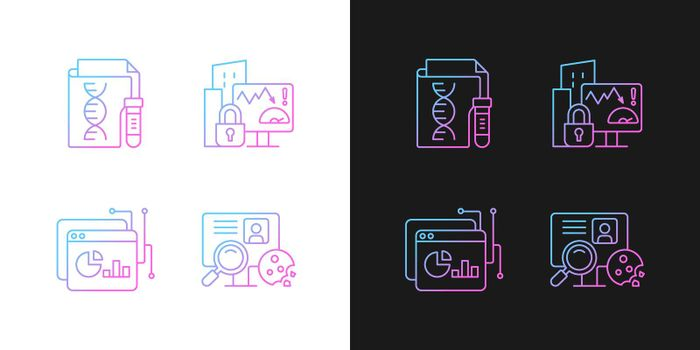 Sensitive data types gradient icons set for dark and light mode