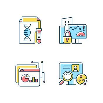 Sensitive data types RGB color icons set