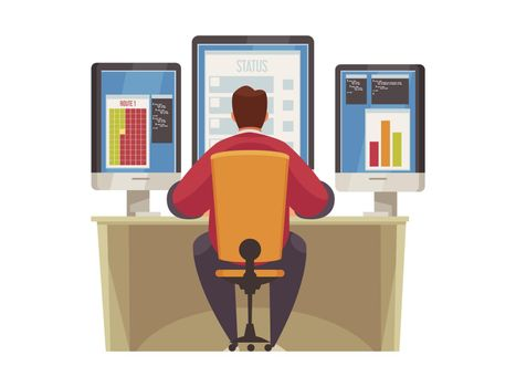 Man Monitoring Illustration