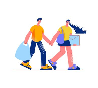 Shopping Together Flat Composition