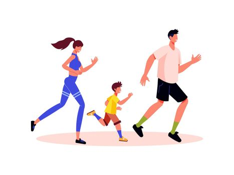 Family Jogging Holiday Composition