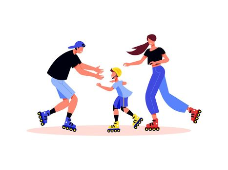 Family Roller Skating Composition