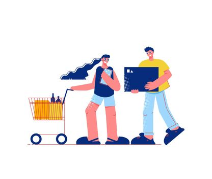 Wife Husband Shopping Composition