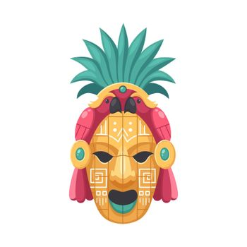 Maya Parrot Mask Composition