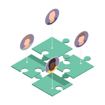 Puzzle Workers Isometric Composition