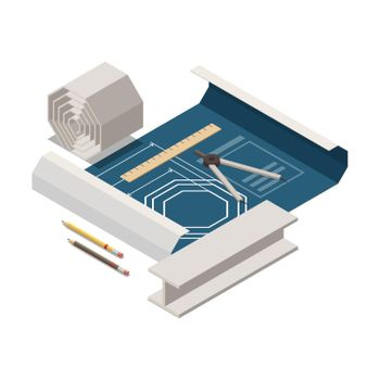 Technical Drawing Isometric Composition