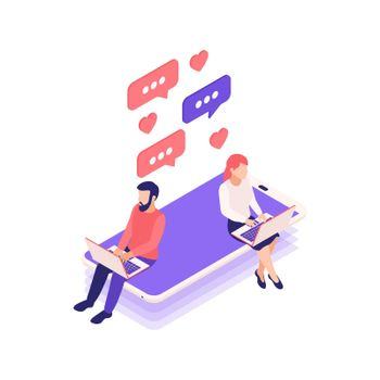 Messaging Lovers Isometric Composition