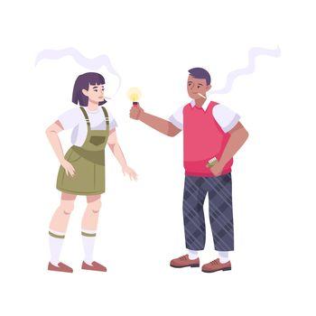 Smoking Teens Flat Composition
