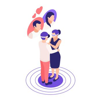 VR Date Isometric Composition