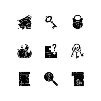 Quest black glyph icons set on white space
