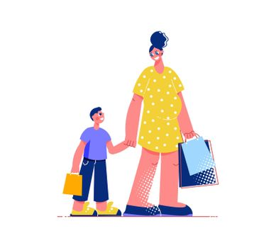 Mother Son Shopping Composition