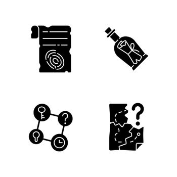 Mystery quest black glyph icons set on white space