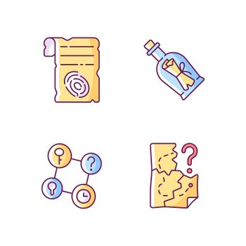Mystery quest RGB color icons set