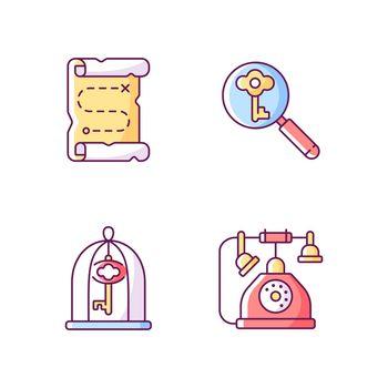 Solving quest RGB color icons set