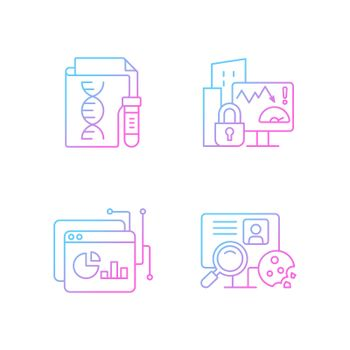 Sensitive data types gradient linear vector icons set