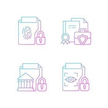 Personal sensitive data gradient linear vector icons set