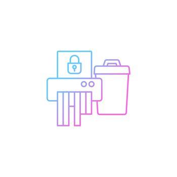 Sensitive information disposal gradient linear vector icon